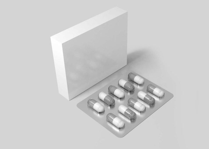 Medicine Box with Tablets Mockup 2
