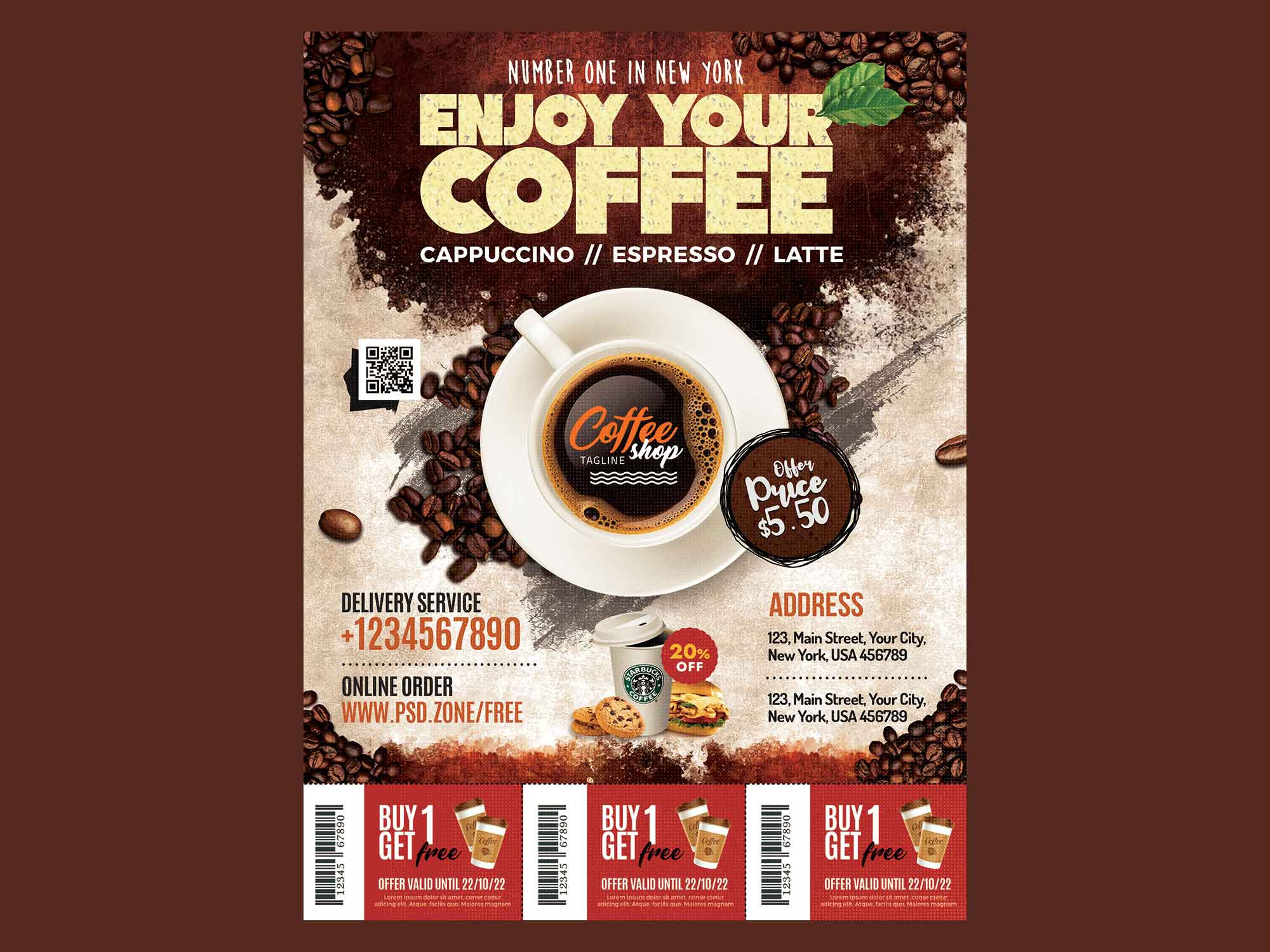 Coffee shop inventory includes perishables such as coffee, sweeteners and flavorings and serving items like cups, lids and sleeves. Free Coffee Shop Flyer Template Psd