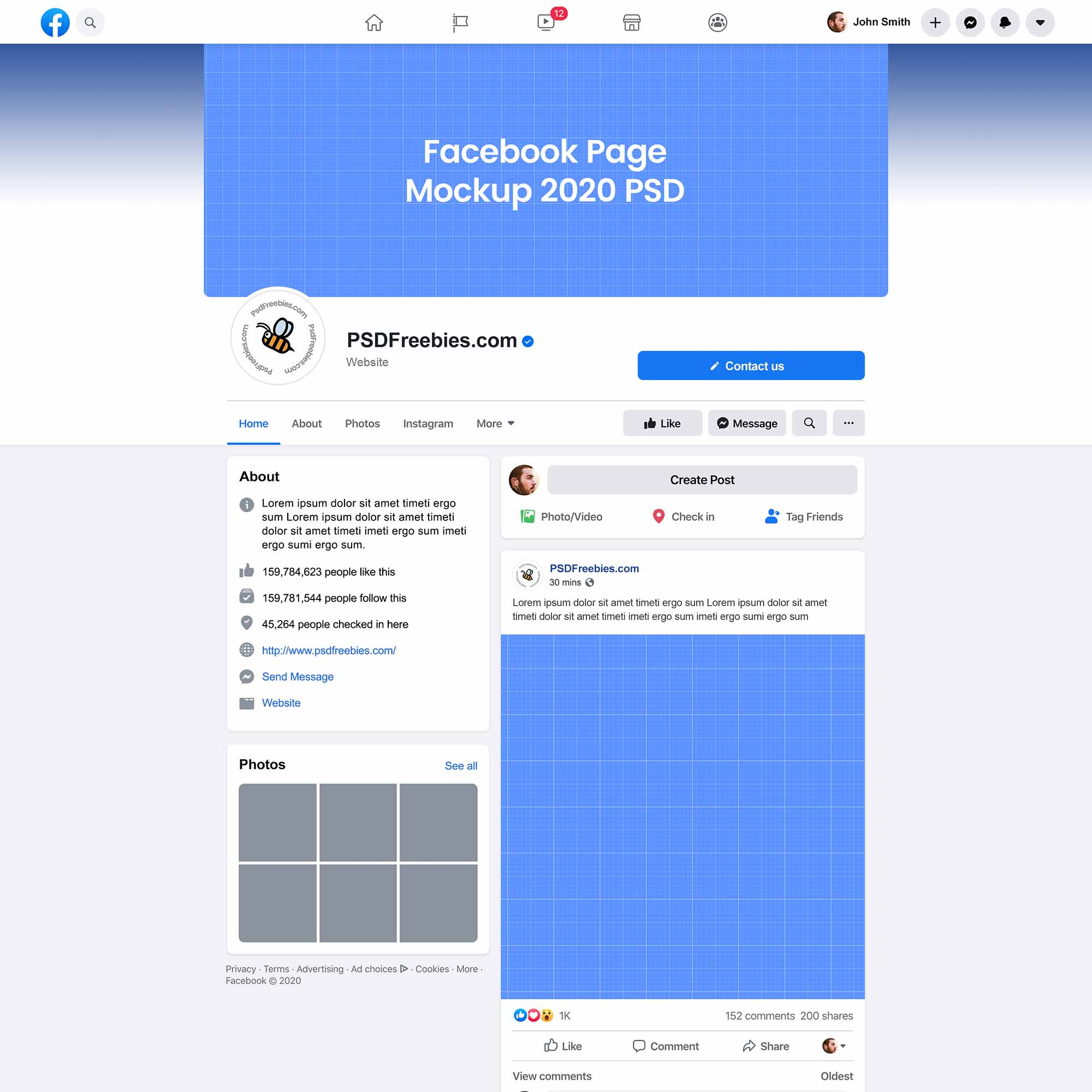 Create facebook, instagram, twitter, snapchat, and pinterest ad mockups for free Facebook Page Mockup 2020 New Design Psd