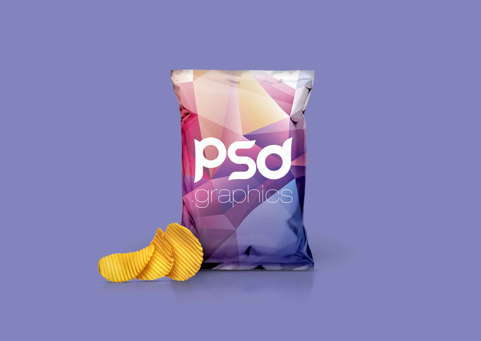 A photorealistic premium quality aluminium foil pouch packaging mockup to showcase food packaging design. Free Foil Chips Bag Packaging Mockup Psd