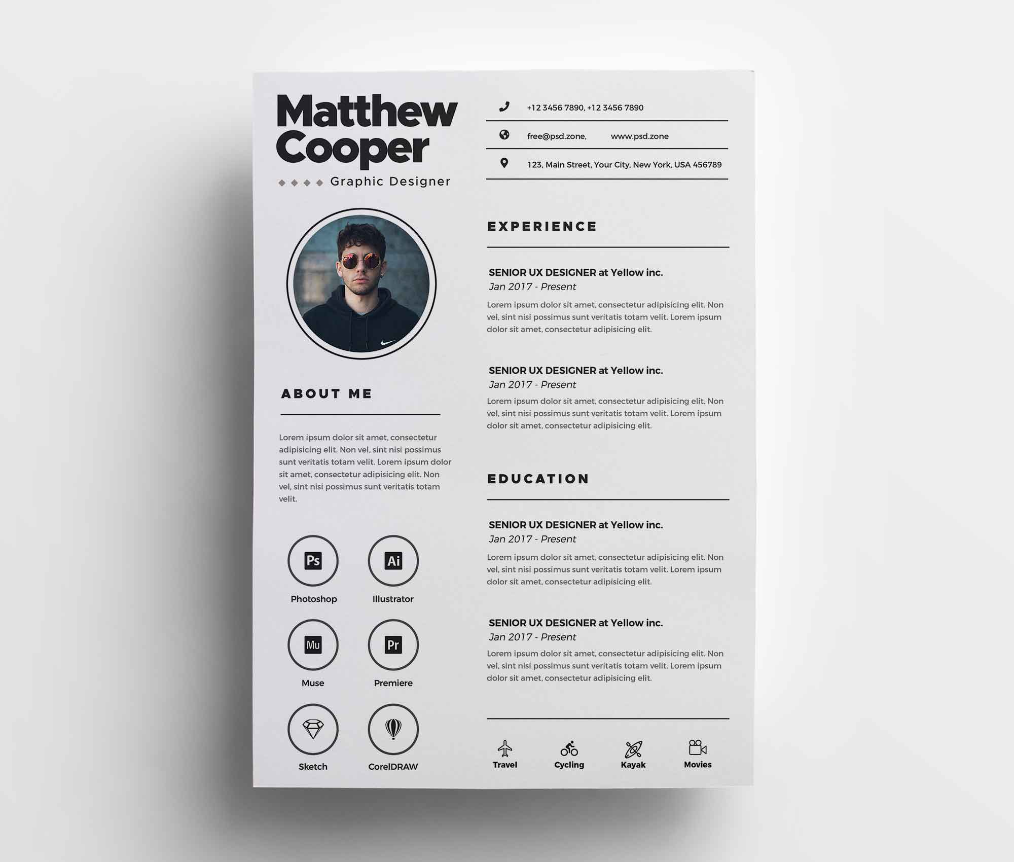 Adobe illustrator resume template free download for your dream job. Free Clean Cv Template Psd