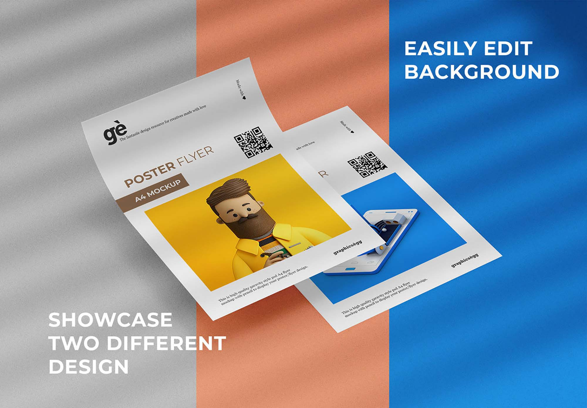 This is a a4 presentation psd flyer mockup to help you showcase great mini a4 poster and flyer. Free Double A4 Flyer Poster Mockup Psd
