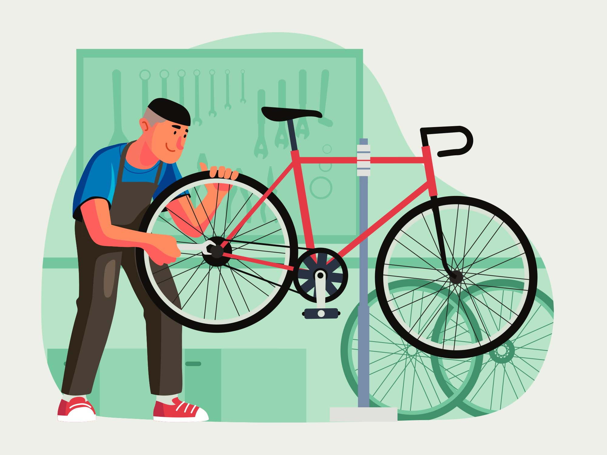 Bicycle Mechanic Illustration