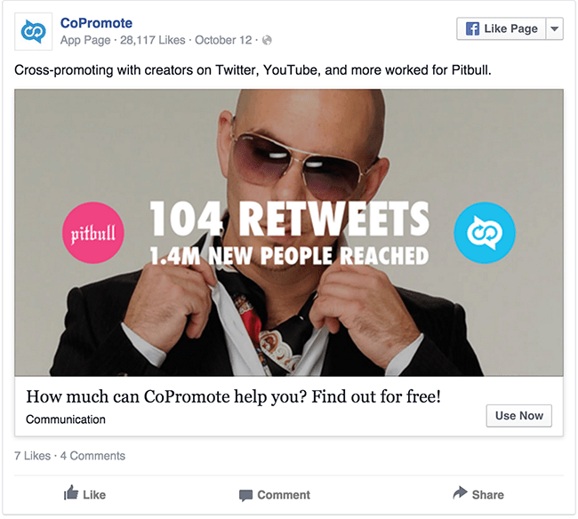 CoPromote Pitbull facebook ad example critique