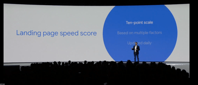 New from the Google Marketing Keynote: Landing page speed score