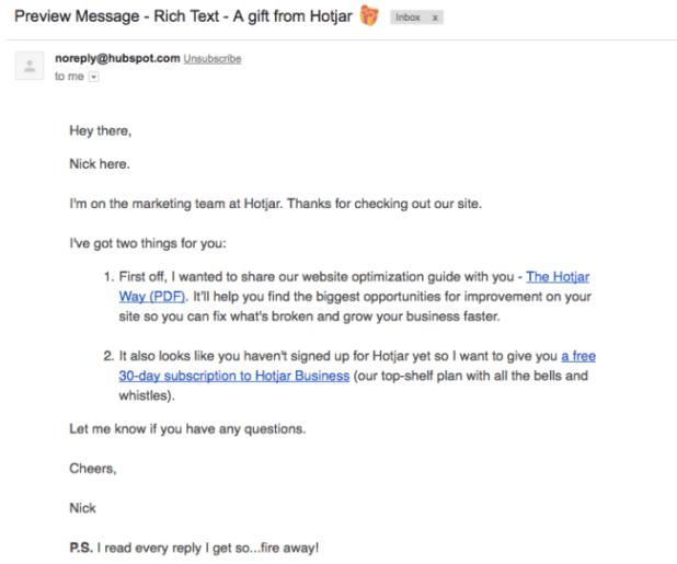 Hotjar follow up email