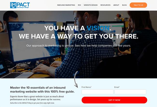 Impact homepage form