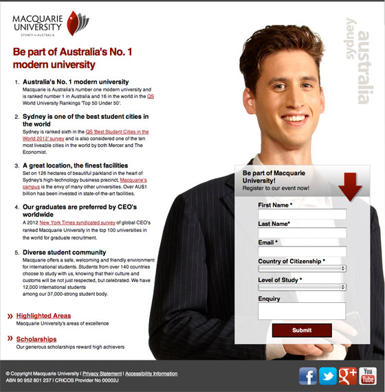 macquarie university landing page example