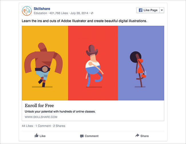 skillshare facebook ad example critique