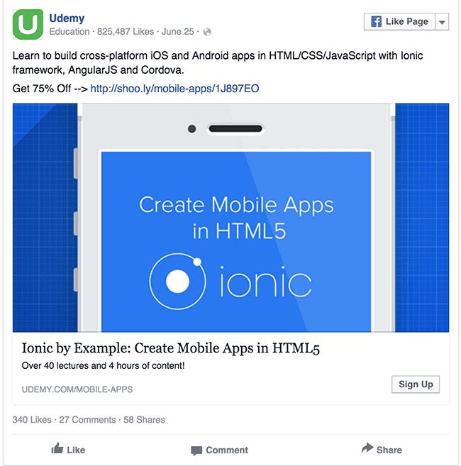 Udemy facebook ad example critique