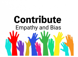 """colorful hands with """"contribute"""" text"""