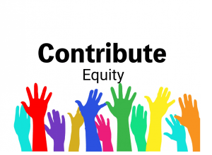 Colored hands raised. equity text