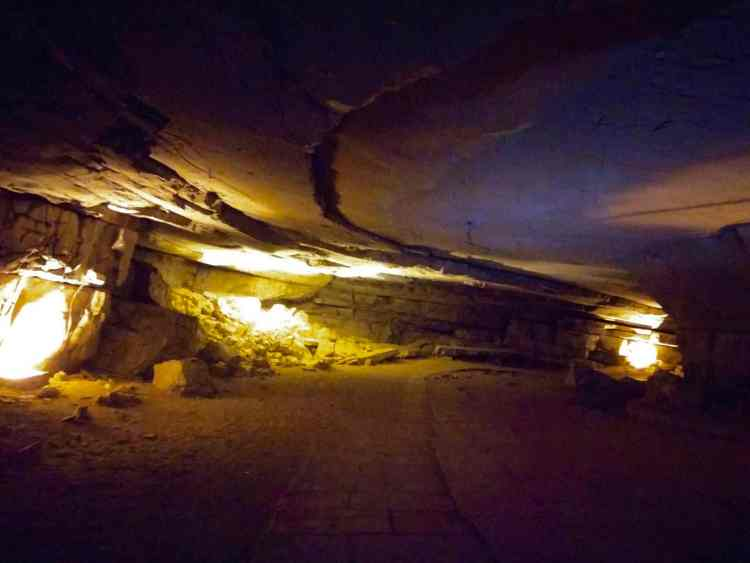 Yellow Artificial Lighting Meditation Hall Belum Caves Itinerary