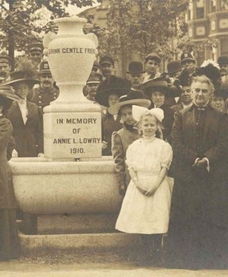 Caroline Earle White with a group of WPSPCA supporters at a dedication for a new water fountain for horses. The fountain was built in honour of Annie L. Lowry who was a supporter of the WPSPCA.