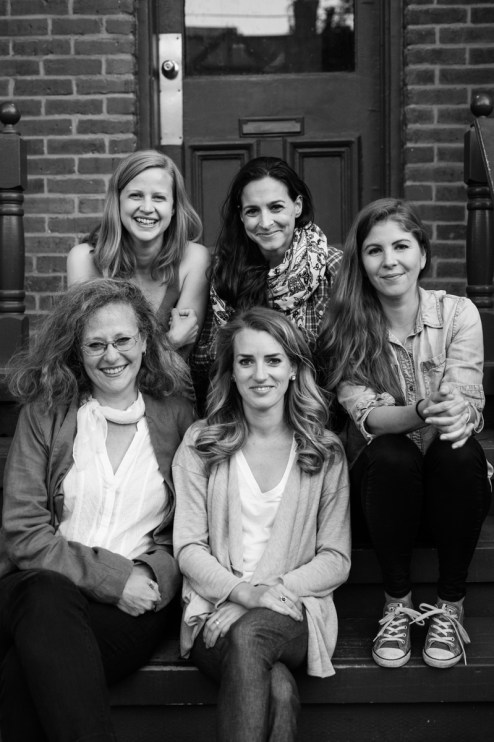 Lesli, Anna, Alanna, Camille and Sophie on Camille's front steps in Toronto.