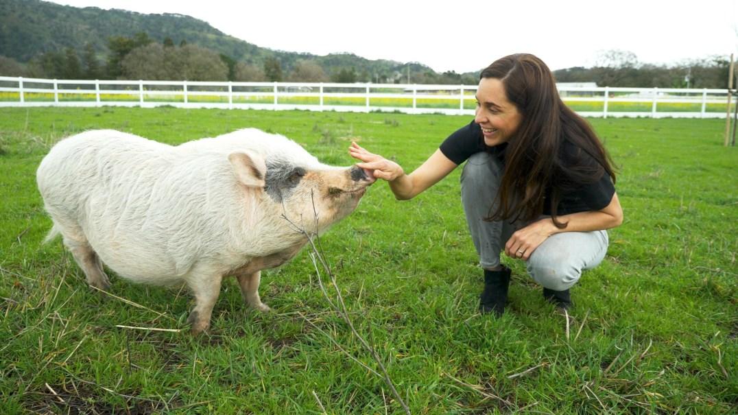 Leah Garcés and a rescued pig.