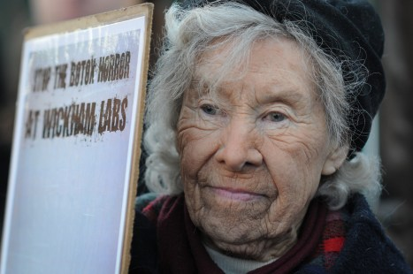Activist Helen Nelson at a demonstration against the use of animals in laboratories. England, 2011.