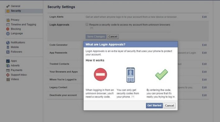 Two-factor auth Facebook