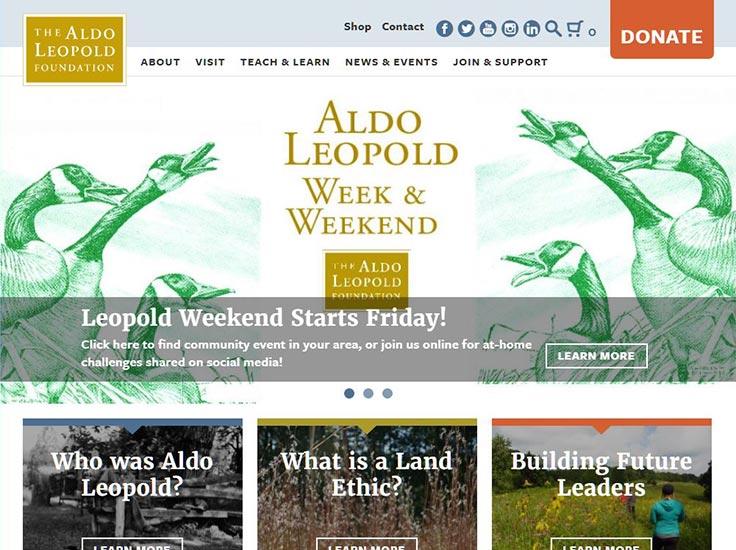 Screenshot of Aldo Leopold Foundation website