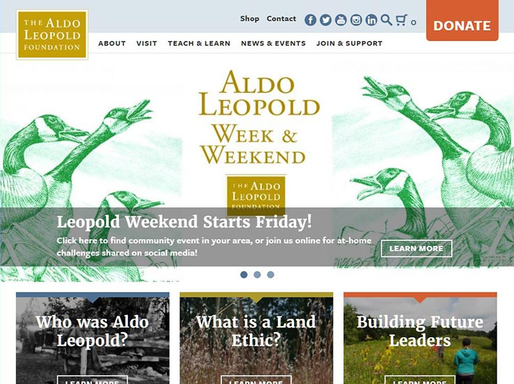 Screenshot of Aldo Leopold Foundation website