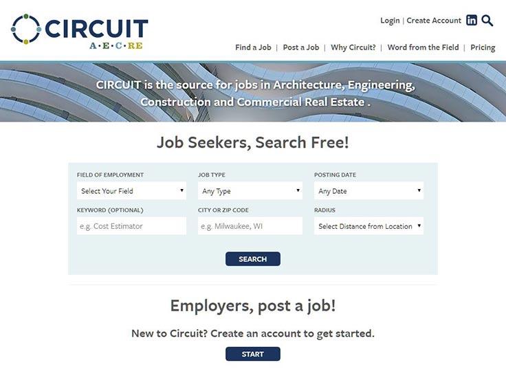 Screenshot of Circuit AECRE website