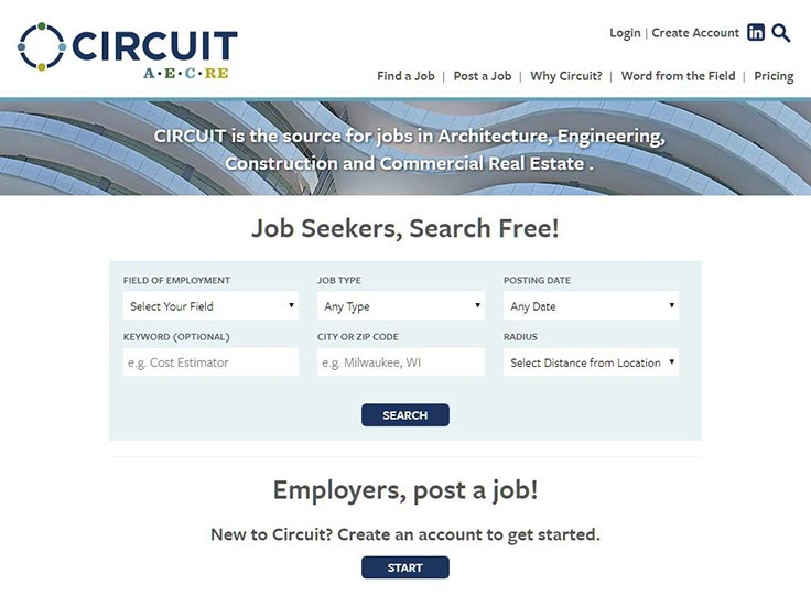 Screenshot of Circuit AECRE website