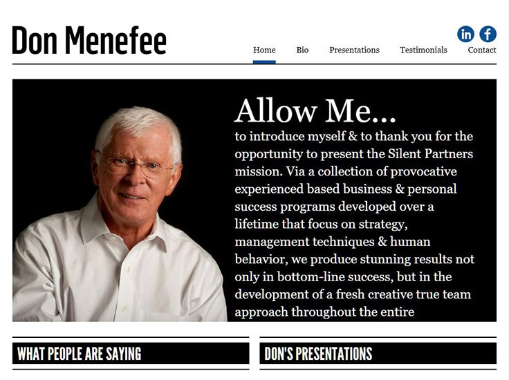 Screenshot of Don Menefee website