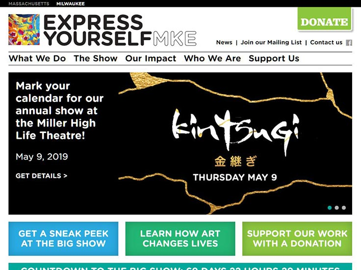 Screenshot of Express Yourself Milwaukee website