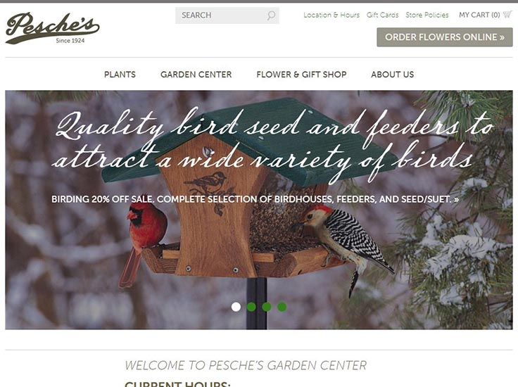 Screenshot of Pesche's Garden Center website