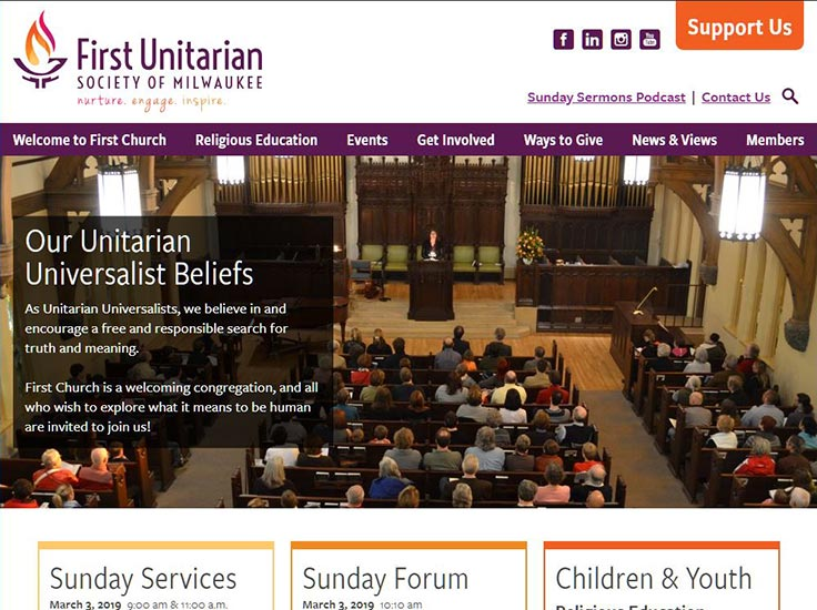Screenshot of First Unitarian Society of Milwaukee website