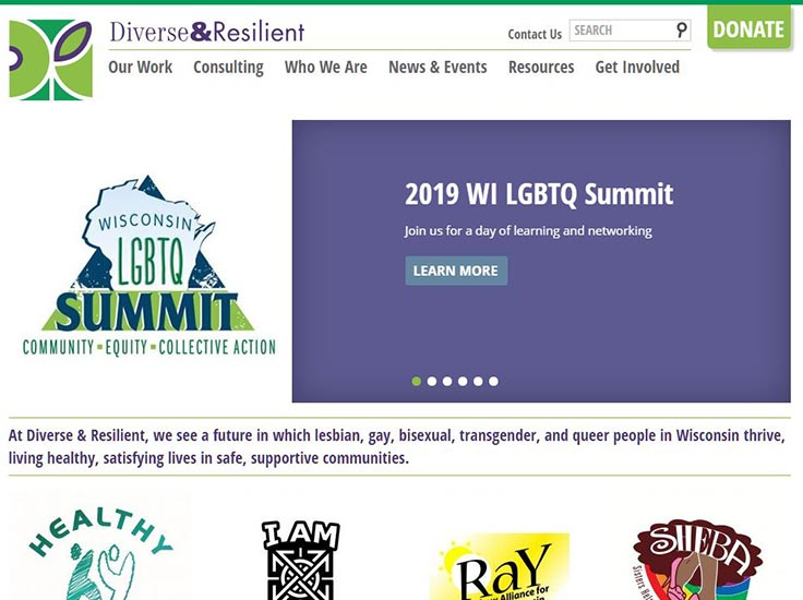 Screenshot of Diverse & Resilient website