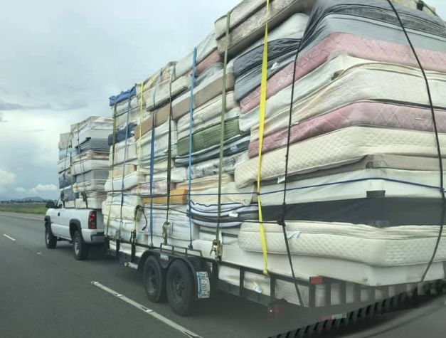 mattresses on truck