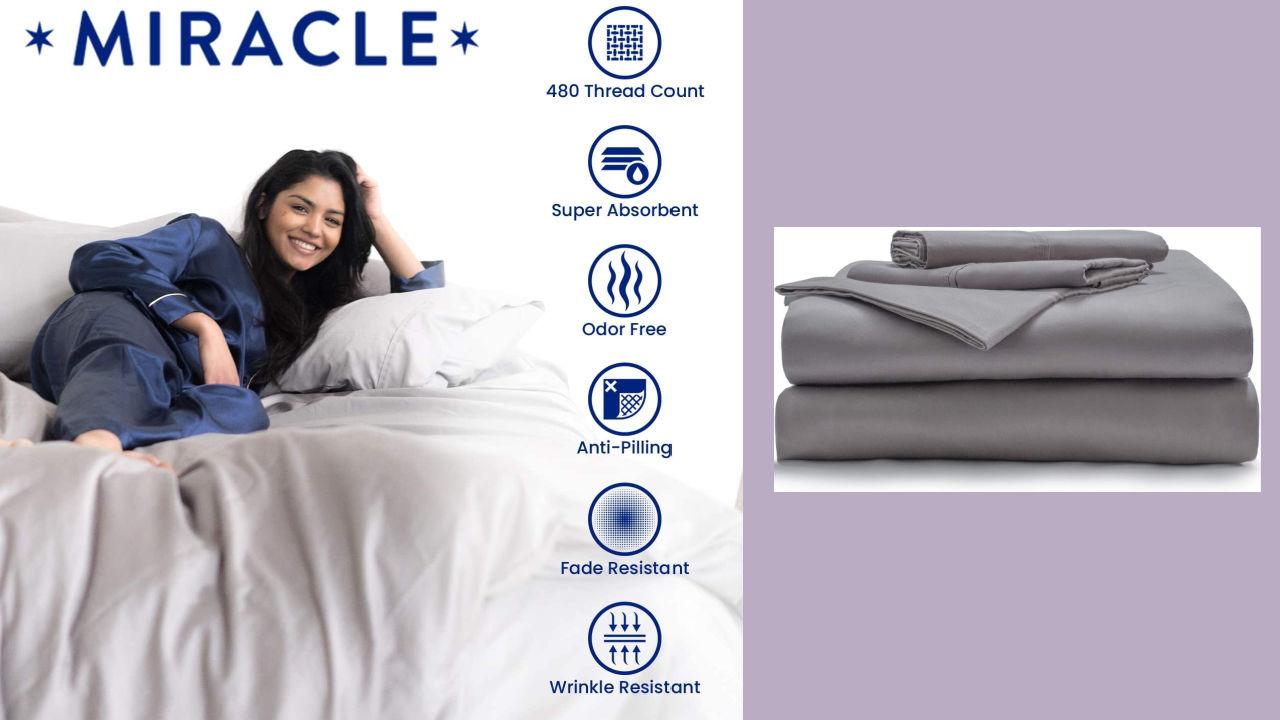 White THREAD SPREAD Bedding Collection 800 Thread Count 100/% Egyptian Cotton Short Queen Sheet Set for Camper//RV