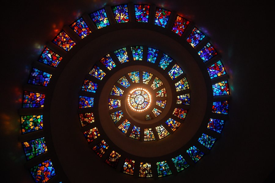 Stained Glass Ceiling Spiral