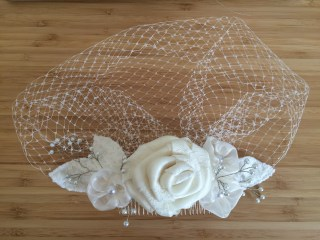 My custom-made DIY birdcage veil!