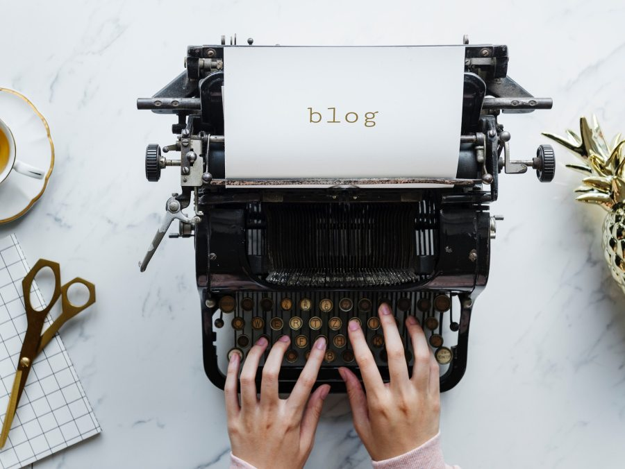 Blog writing on typewriter