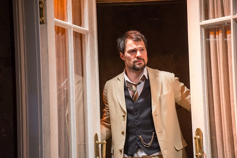 "Danila Kozlovskiy in a scene from the Maly Drama Theatre of St. Petersburg, Russia production of ""The Cherry Orchard"" by Anton Chekhov Directed and adapted by Lev Dodin at the Brooklyn Academy of Music Harvey Theater on February 16, 2016. The actors: Lyubov Ranevskaya, a landowner Ksenia Rappoport (woman-dark hair) Anya, her daughter Danna Abyzova (Blonde) Varya, her adopted daughter Elizaveta Boiarskaia -with scarf Leonid Gayev, her brother Igor Chernevich, _ older man in suit Yermolai Lopakhin, a merchant Danila Kozlovskiy- young handsome man Petr Trofimov, a student Oleg Ryazantsev- tall with glasses Charlotta, a governess Tatiana Shestakova- old woman Semen Yepikhodov, a clerk Andrei Kondratiev- thin blonde man tall Dunyasha, a housemaid Arina Von Ribben- in maids outfit Firs, a manservant Sergei Kuryshev- in red jacket Yasha, young manservant Stanislav Nikolskii- blonde man- crazy Photo Credit: ©Stephanie Berger"