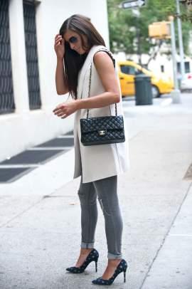Long lined sleeveless vest