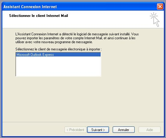 Outlook Express détecté