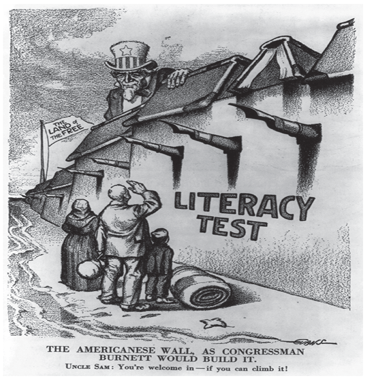 19th century political cartoon depicting onerous immigration literacy policy