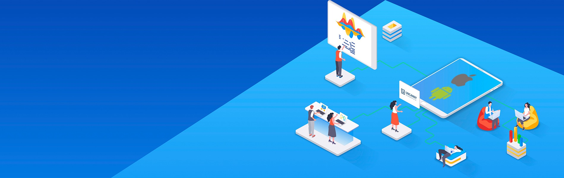 Mobile application development banner with android and iOS logo