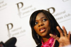 PRETORIA, SOUTH AFRICA – JULY 14: Public Protector Thuli Madonsela announcing her findings on scandalous lease dealings at the National Press Club on July 14, 2011 in Pretoria, South Africa. (Photo by Gallo Images / Foto24 / Liza van Deventer)