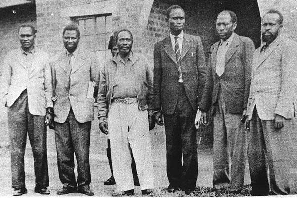 The Kapenguria Six from left: Paul Ngei, Fred Kubai, Jomo Kenyatta, Achieng Oneko, Kungu Karumba and Bildad Kagia. PHOTO FILE   NATION