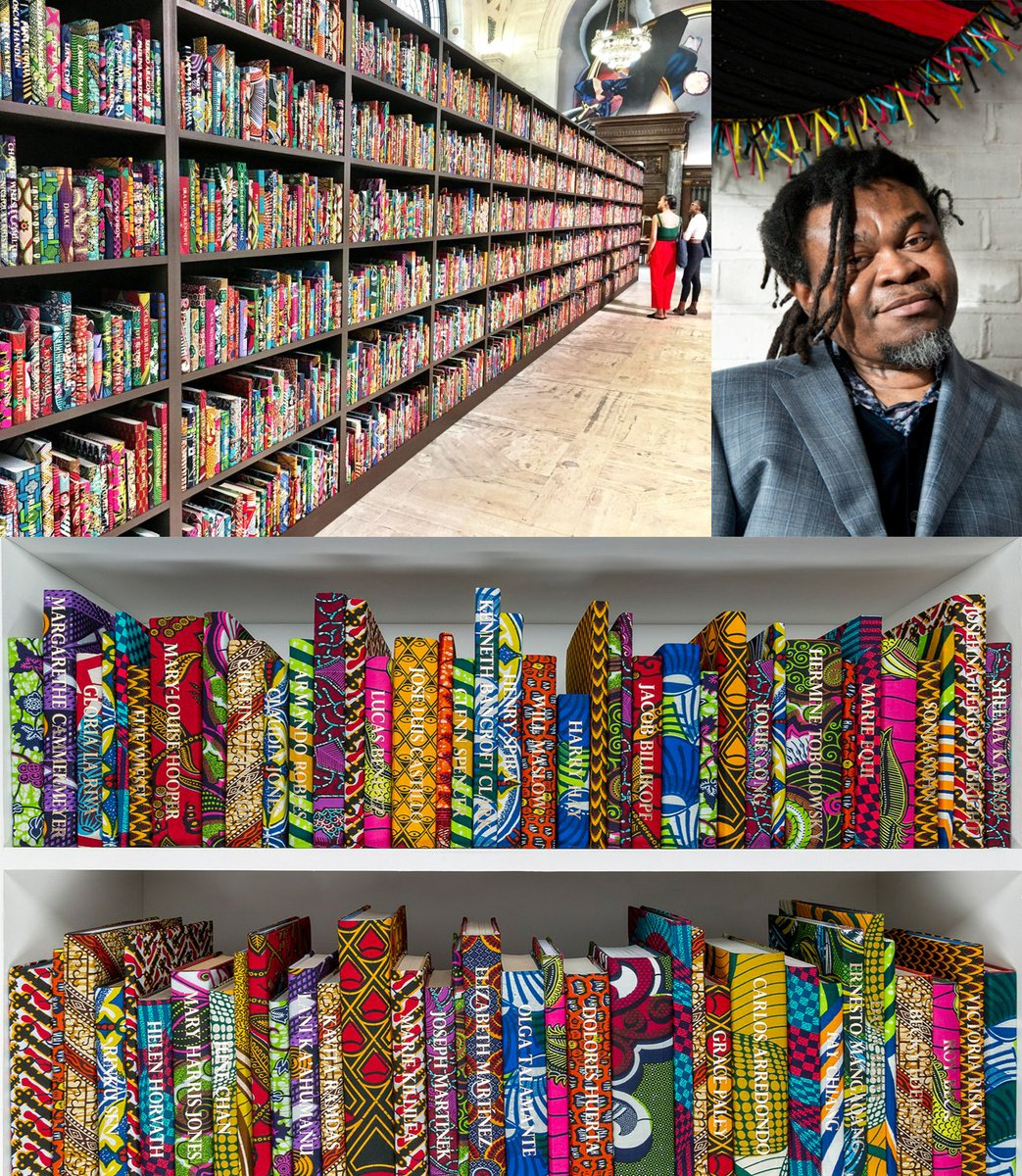 alt-text=Shonibare's books wrapped in African Textiles