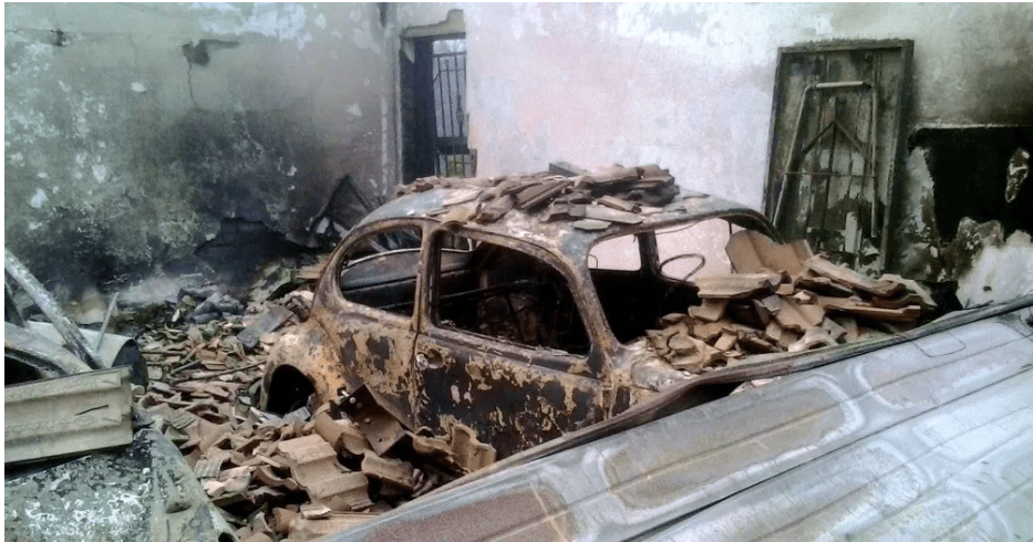 A car burnt to ashes in Knysna Fire