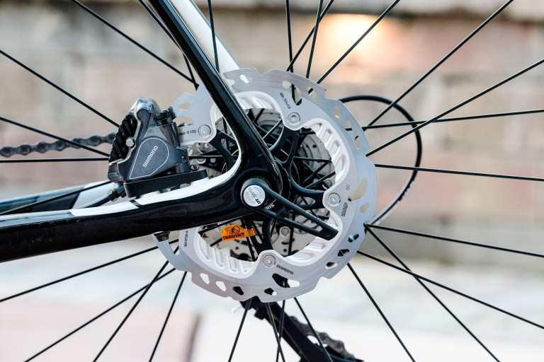 Close-up of Shimano disc brake