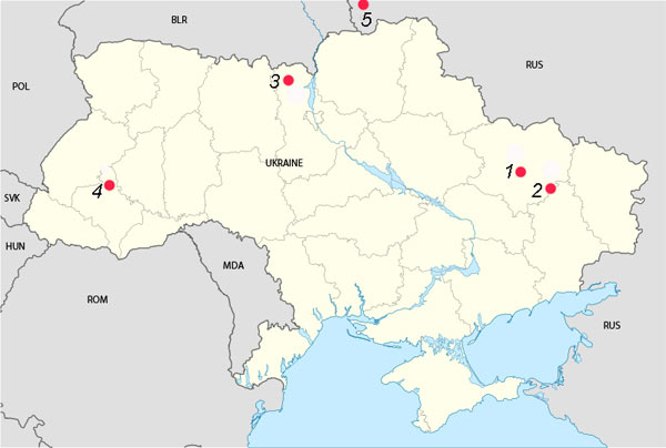 Рис. 2. Карта місць проведення первинної інвентаризації кажанів