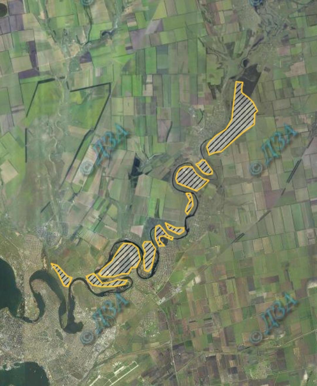 Картосхема 2. розміщення піщаних степових масивів у пониззі р. Інгул