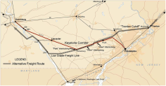 Map of the A&S Low-Grade Freight Line highlighted in gray.
