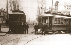 Conductors wait for passengers at South George and West Frederick streets in Millersville sometime around 1908.